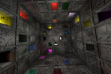 Sci Fi Grungy Escape Room Riddle Labyrinth Cube Interior