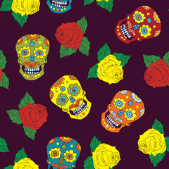 Day of the Dead seamless pattern, handdrawn sugar skulls and roses background, vector illustration