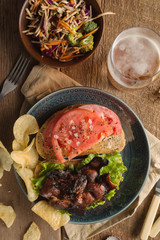 Rustic Bacon, Lettuce and Tomato Sandwich From Above