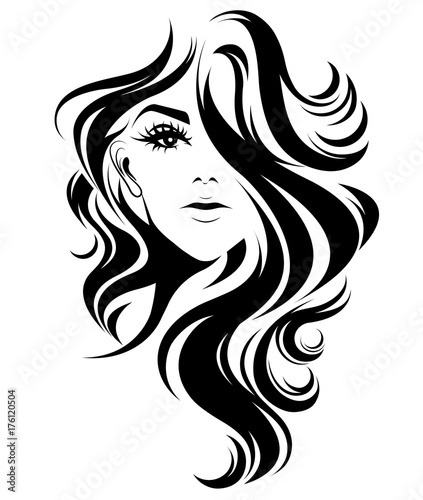 "Download Shorter: ""women Long Hair Style Icon, Logo Women On White"
