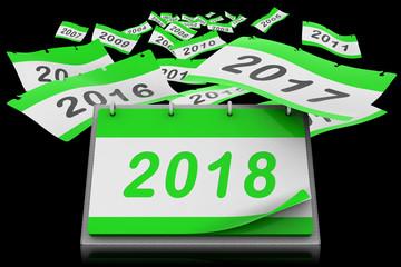Fogli di calendario ad anelli da scrivania si allontanano verso l'infinito scoprendo l'anno 2018