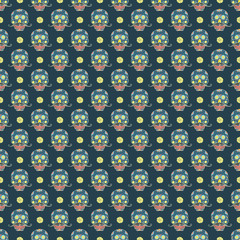 Day of the Dead seamless pattern, handdrawn sugar skulls with moustache background, vector illustration
