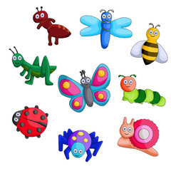 cartoon bug vector set