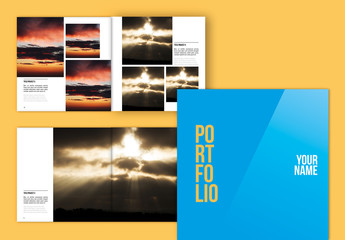 Portfolio/Lookbook Layout with Blue and Yellow Cover