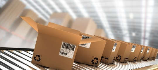 Composite image of row of brown boxes on conveyor belt