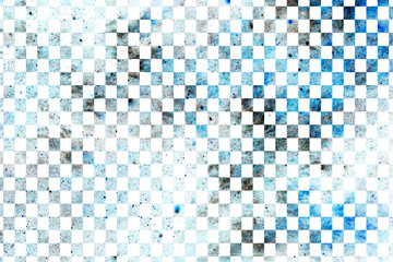 Abstract geometric texture with blue and grey dots on white background. Fantasy checkered fractal design. Digital art. 3D rendering.