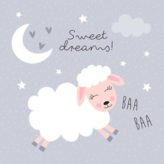 sweet dreams sheep vector illustration
