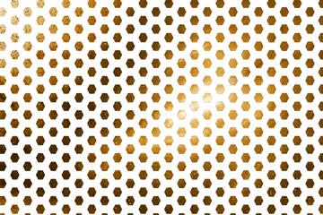 Abstract geometric texture with golden sparkles on white background. Fantasy hexagonal fractal design. Digital art. 3D rendering.