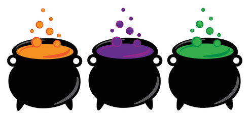 Happy Halloween Witches Cauldrons