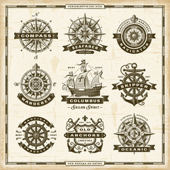 Vintage nautical labels collection. Editable EPS10 vector illustration in retro woodcut style.