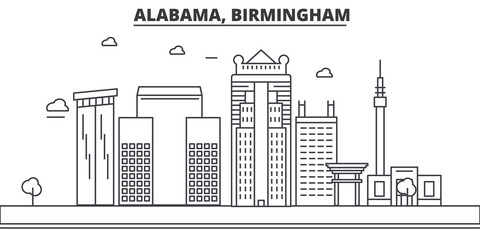 Alabama, Birmingham architecture line skyline illustration. Linear vector cityscape with famous landmarks, city sights, design icons. Editable strokes