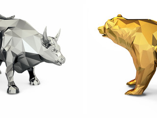 Render illustration of golden bull and bear head