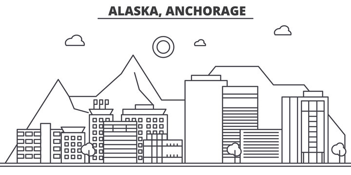 Alaska, Anchorage architecture line skyline illustration. Linear vector cityscape with famous landmarks, city sights, design icons. Editable strokes