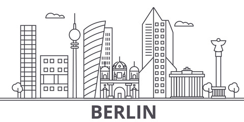 Berlin architecture line skyline illustration. Linear vector cityscape with famous landmarks, city sights, design icons. Editable strokes