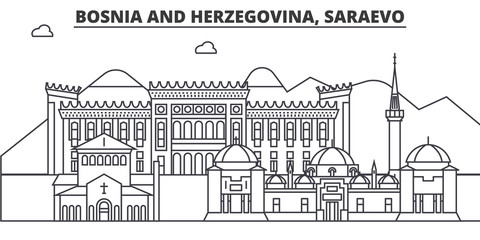 Bosnia And Herzegovina, Saraevo architecture line skyline illustration. Linear vector cityscape with famous landmarks, city sights, design icons. Editable strokes