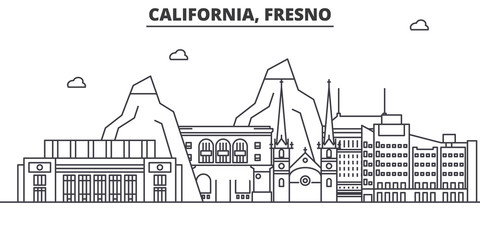 California Fresno architecture line skyline illustration. Linear vector cityscape with famous landmarks, city sights, design icons. Editable strokes