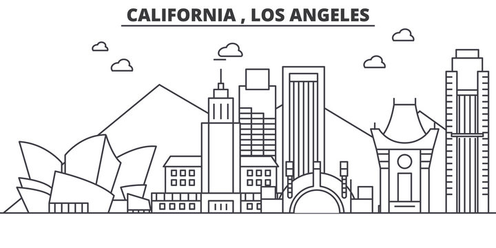 California Los Angeles architecture line skyline illustration. Linear vector cityscape with famous landmarks, city sights, design icons. Editable strokes