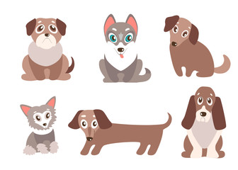 Vector set of puppies. Cute dogs, best friends. Pug, husky, dach