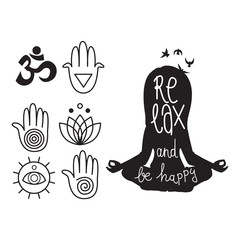 "Black and white illustration of yoga logo symbols and woman silhouette with ""Relax and be happy"" text"