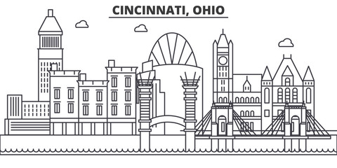 Cincinnati, Ohio architecture line skyline illustration. Linear vector cityscape with famous landmarks, city sights, design icons. Editable strokes