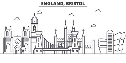 England, Bristol architecture line skyline illustration. Linear vector cityscape with famous landmarks, city sights, design icons. Editable strokes