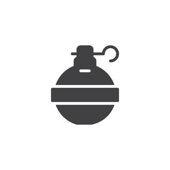 Hand grenade icon vector, filled flat sign, solid pictogram isolated on white. Symbol, logo illustration.