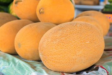 Fresh melons at market, closeup