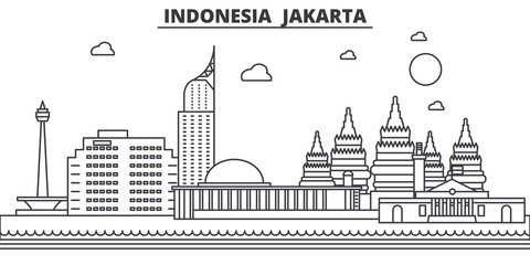 Indonesia, Jakarta architecture line skyline illustration. Linear vector cityscape with famous landmarks, city sights, design icons. Editable strokes Papier Peint