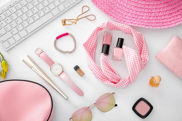 Composition with computer keyboard, cosmetics and accessories on white background. Beauty blogger concept