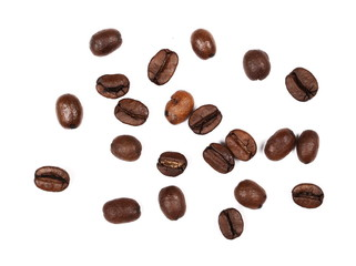 Pile coffee beans isolated on white background, top view