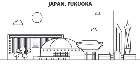Japan, Fukuoka architecture line skyline illustration. Linear vector cityscape with famous landmarks, city sights, design icons. Editable strokes Wall mural