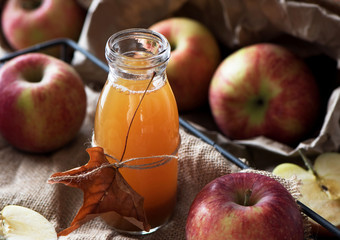 Homemade fresh apple cider in a jar.