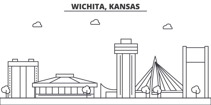 Kansas, Wichita architecture line skyline illustration. Linear vector cityscape with famous landmarks, city sights, design icons. Editable strokes