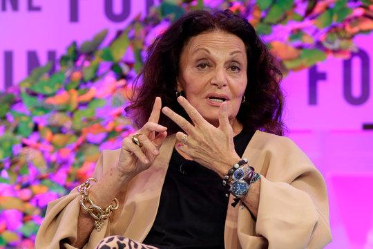 "Diane von Furstenberg, founder and co-chairman of DVF Studio, speaks at the 2017 Fortune magazine's ""Most Powerful Women"" summit in Washington"