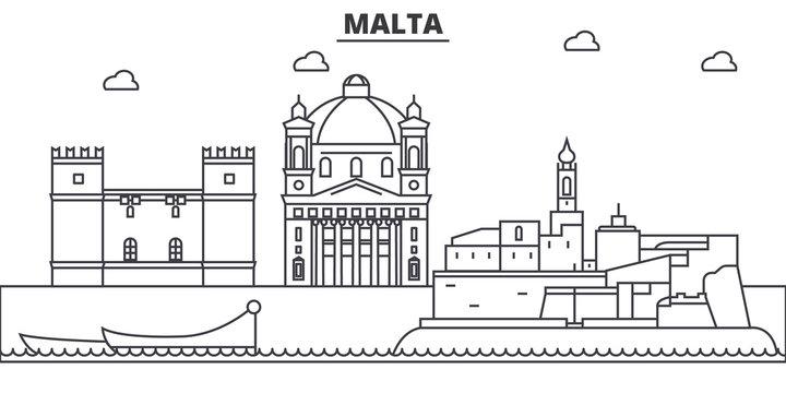 Malta architecture line skyline illustration. Linear vector cityscape with famous landmarks, city sights, design icons. Editable strokes