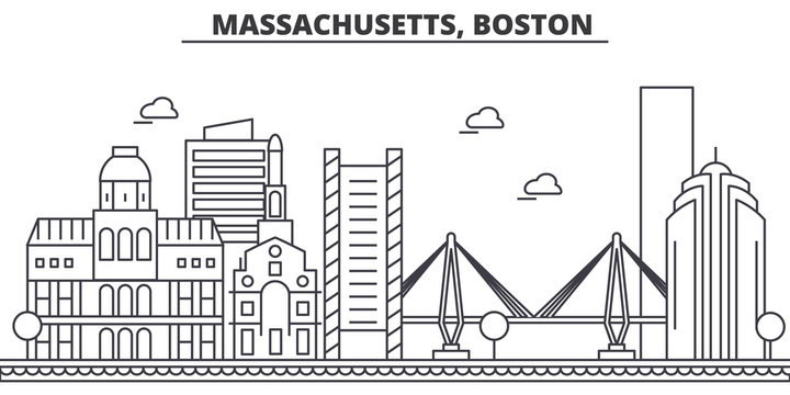 Massachusetts, Boston architecture line skyline illustration. Linear vector cityscape with famous landmarks, city sights, design icons. Editable strokes
