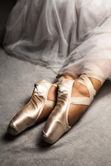Close up of dancer's feet and shoes (classical ballerina).