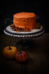 Autumn themed cake on dark background.