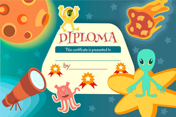 Diploma for a teaching game or a children's competition