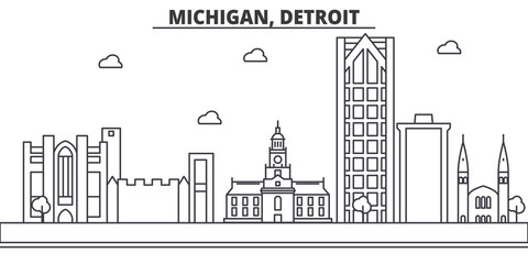 Michigan, Detroit architecture line skyline illustration. Linear vector cityscape with famous landmarks, city sights, design icons. Editable strokes