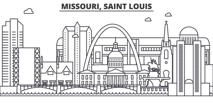 Missouri, Saint Louis architecture line skyline illustration. Linear vector cityscape with famous landmarks, city sights, design icons. Editable strokes