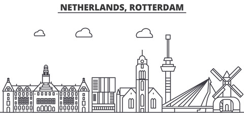 Papiers peints Rotterdam Netherlands, Rotterdam architecture line skyline illustration. Linear vector cityscape with famous landmarks, city sights, design icons. Editable strokes