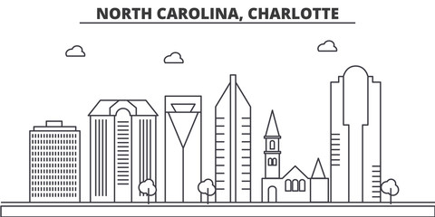 North Carolina, Charlotte architecture line skyline illustration. Linear vector cityscape with famous landmarks, city sights, design icons. Editable strokes