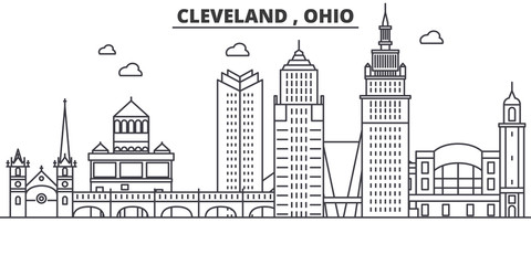 Ohio Cleveland architecture line skyline illustration. Linear vector cityscape with famous landmarks, city sights, design icons. Editable strokes