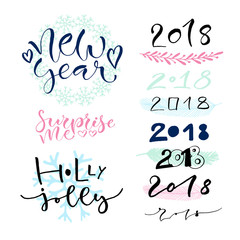 Handwritten New Year greeting card decorations.Calligraphic vector illustration with 2018 numbers.