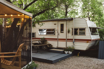 Vintage trailer and outdoor seating area