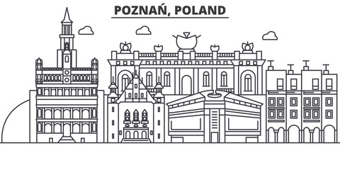 Poland, Poznan architecture line skyline illustration. Linear vector cityscape with famous landmarks, city sights, design icons. Editable strokes
