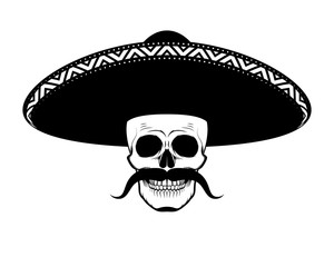 Stencil moustached skull in sombrero black and white