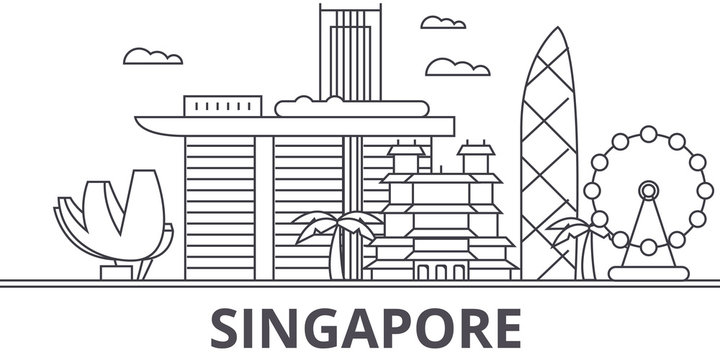 Singapore architecture line skyline illustration. Linear vector cityscape with famous landmarks, city sights, design icons. Editable strokes