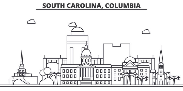 South California, Columbia architecture line skyline illustration. Linear vector cityscape with famous landmarks, city sights, design icons. Editable strokes